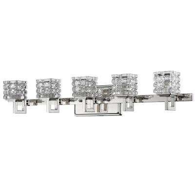 Coralie 5-Light Polished Nickel Vanity Light with Pressed Crystal Shades