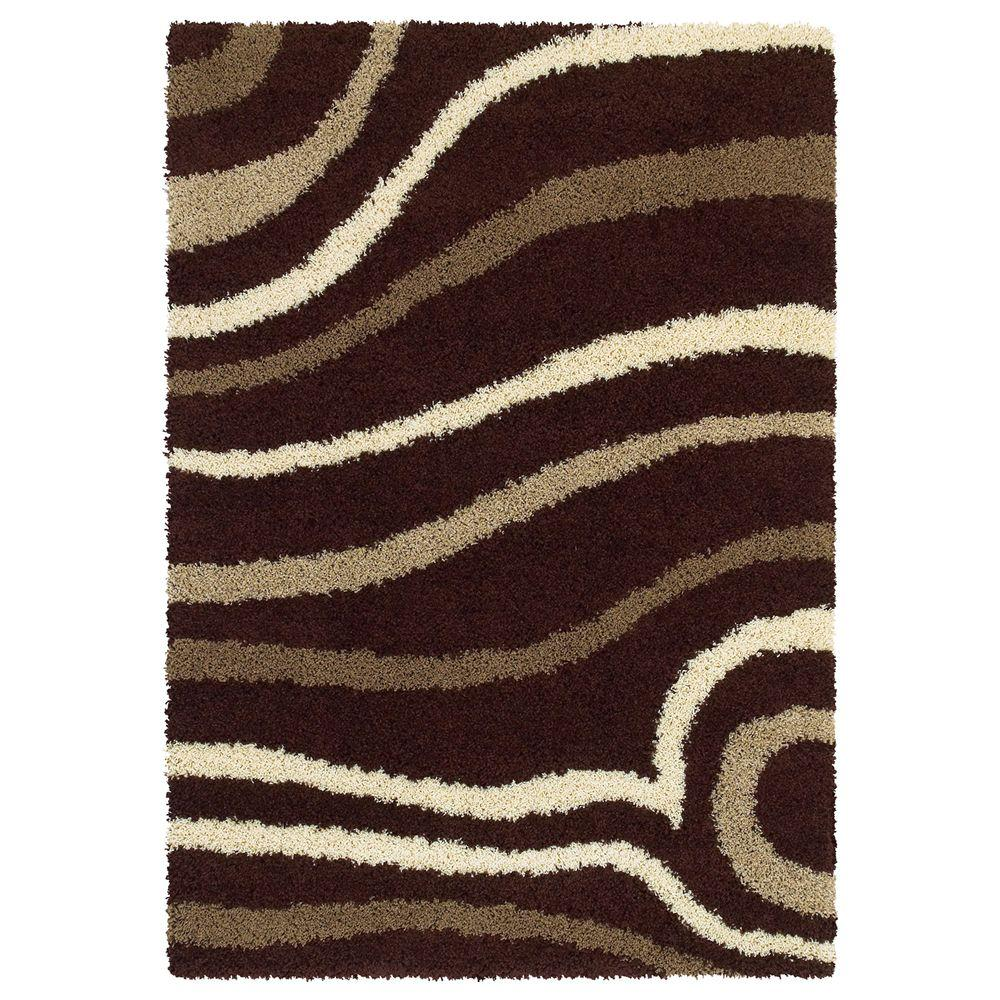 United Weavers Overstock Gatsby Chocolate 7 ft. 10 in. x 10 ft. 6 in. Contemporary Area Rug