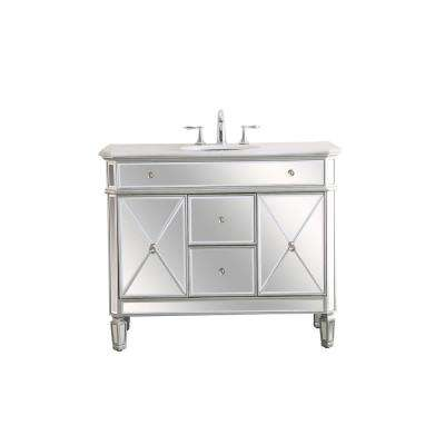 Timeless Home 20.5 in. W x 42 in. D x 35 in. H Single Bathroom Vanity in Antique Silver with White Marble Top and Basin