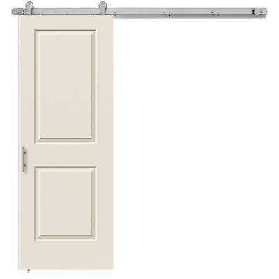 30 in. x 84 in. Cambridge Primed Smooth Molded Composite MDF Barn Door with Modern Hardware Kit