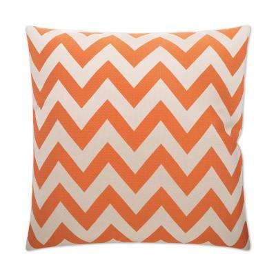 Chevron Chic Orange Feather Down 24 in. x 24 in. Standard Decorative Throw Pillow