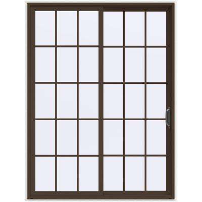 72 in. x 96 in. V-4500 Contemporary Brown Painted Vinyl Right-Hand 15 Lite Sliding Patio Door w/White Interior