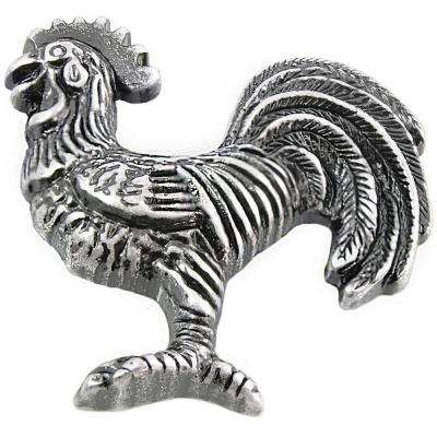 2.25 in. Antique Silver Right Cabinet/Left Facing Rooster Knob