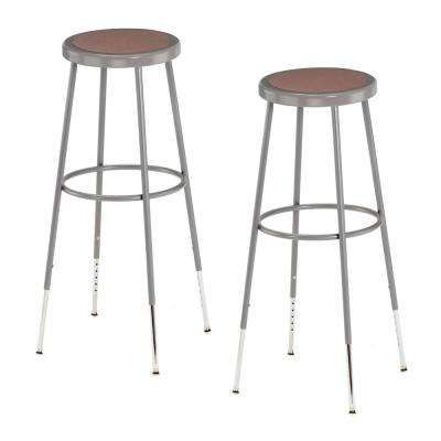 32 in. to 39 in. Height Grey Adjustable Heavy-Duty Steel Stool (2-Pack)