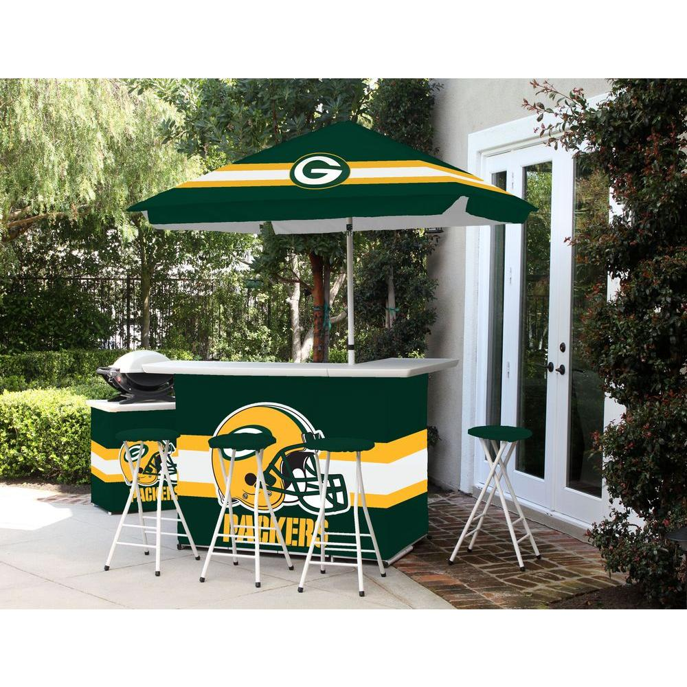 Best of Times Green Bay Packers 6-Piece All-Weather Patio Bar Set with 6 ft. Umbrella
