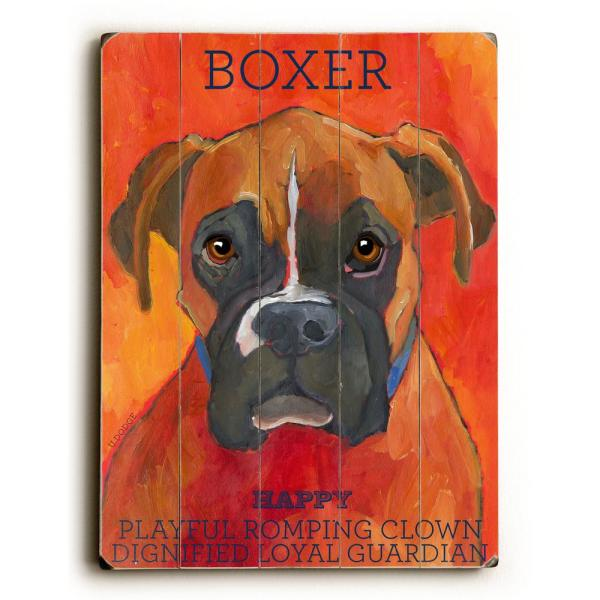 ArteHouse 18 in. x 24 in. ''Boxer by Ursula Dodge ''Planked
