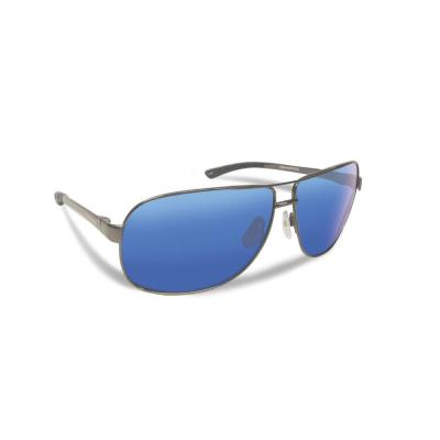 5aeccdd3e9e6 Highlander Polarized Sunglasses Gunmetal Frame with Smoke in Blue Mirror  Lens