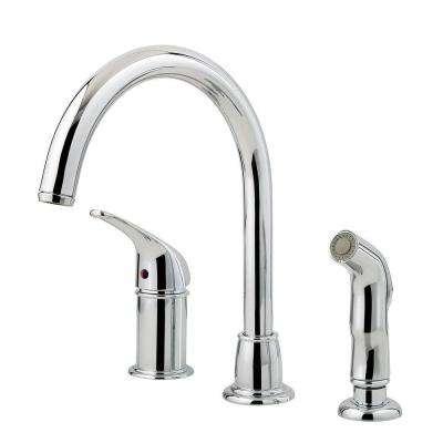 Cagney Single-Handle Standard Kitchen Faucet with Side Sprayer in Polished Chrome