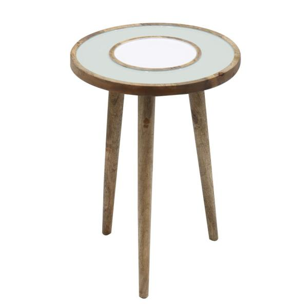 Peril 16 in. Brown Round Wood Accent Table with Raised Edge