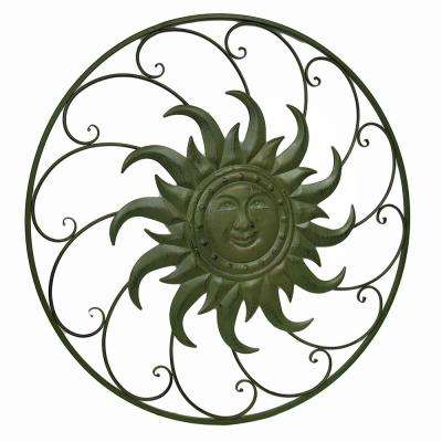Celestial Sun Swirling Distressed Finish Oversize Wall Hanging