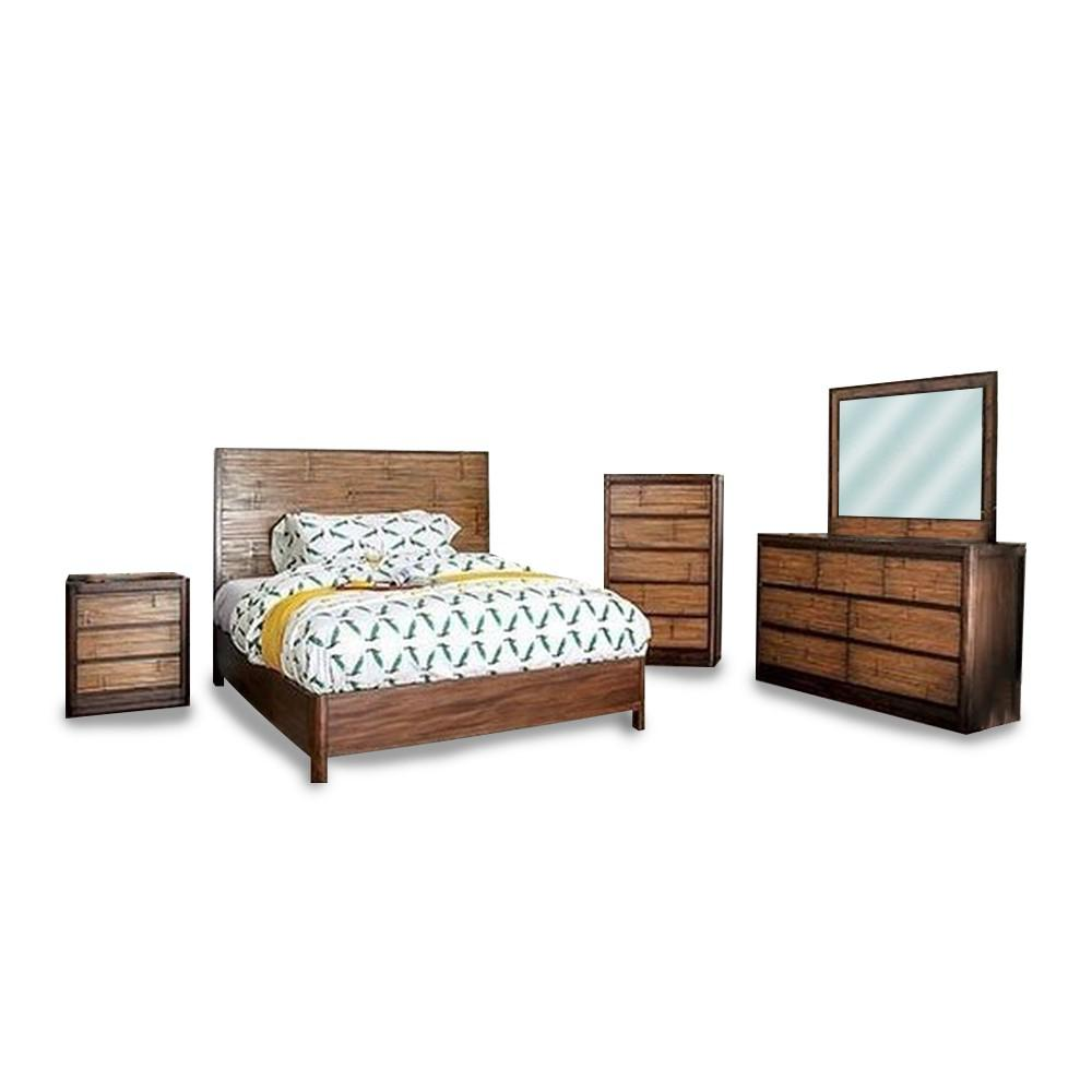 Covilha 4-Piece Antique Brown Queen Bed Set