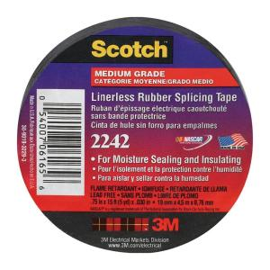3M Scotch 130C Linerless Rubber Splicing Electrical Tape 3//4in x 30ft