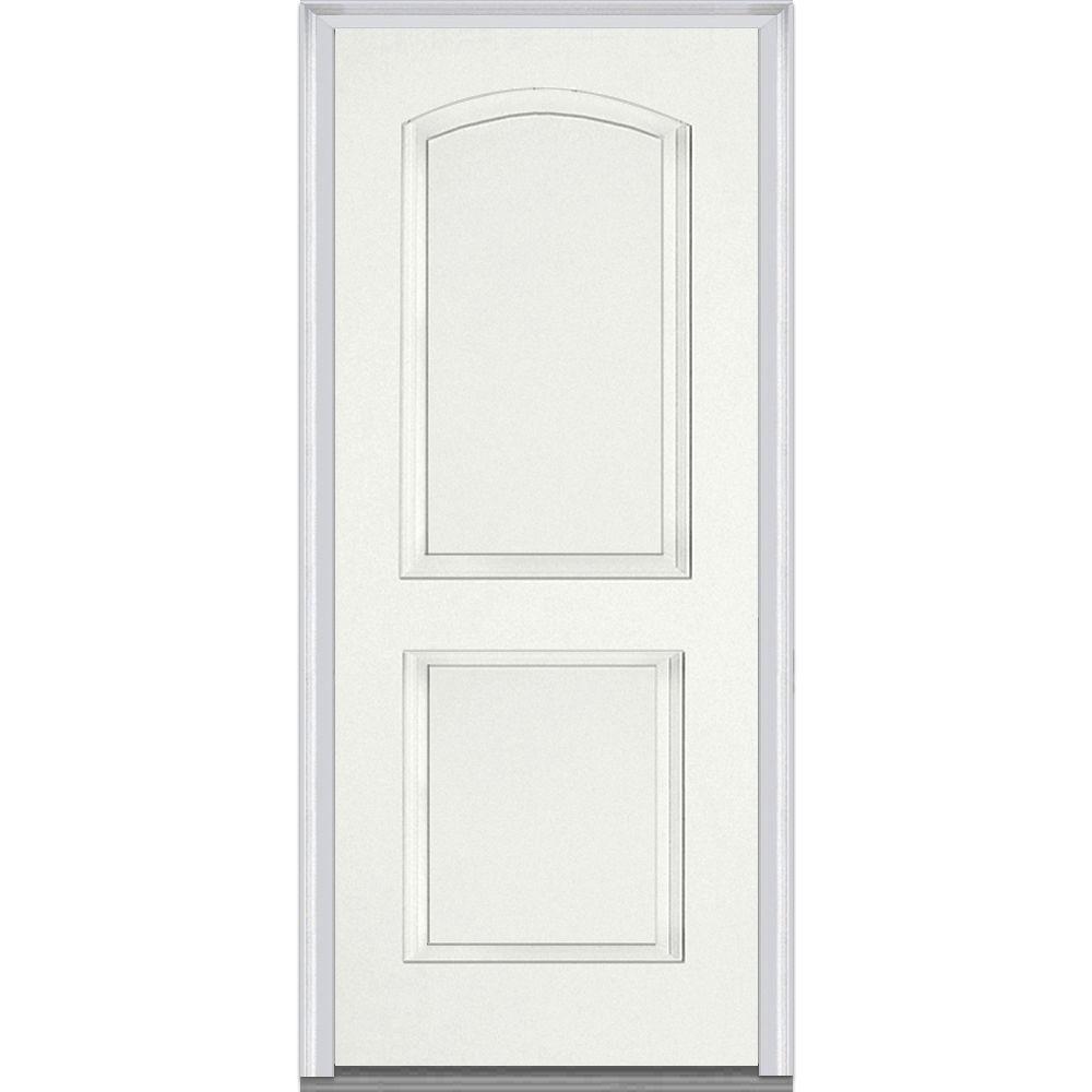 Mmi Door 36 In X 80 In Left Hand Outswing 2 Panel Arch Primed