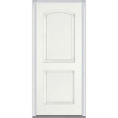 32 in. x 80 in. Left-Hand Inswing 2-Panel Archtop Classic Painted Fiberglass Smooth Prehung Front Door