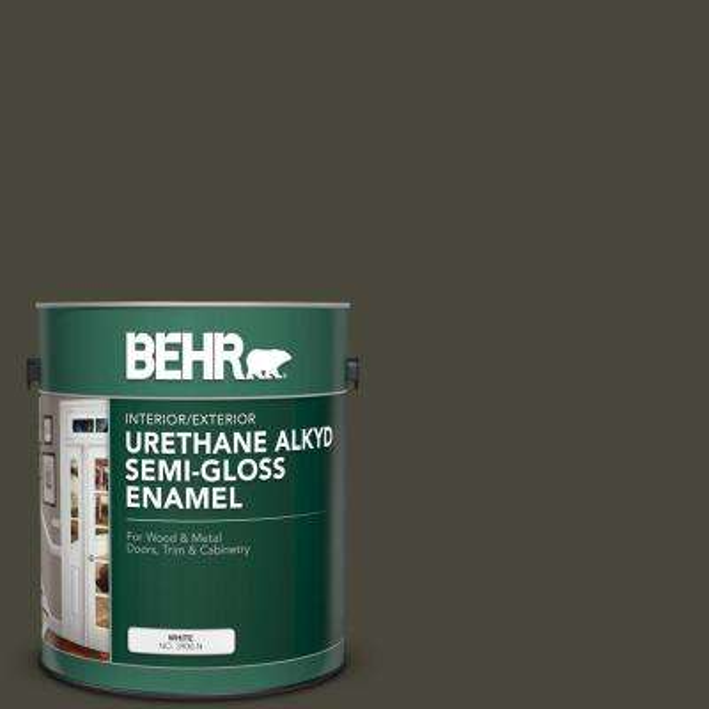 1 gal. #T16-01 Black Pearl Urethane Alkyd Semi-Gloss Enamel Interior/Exterior Paint