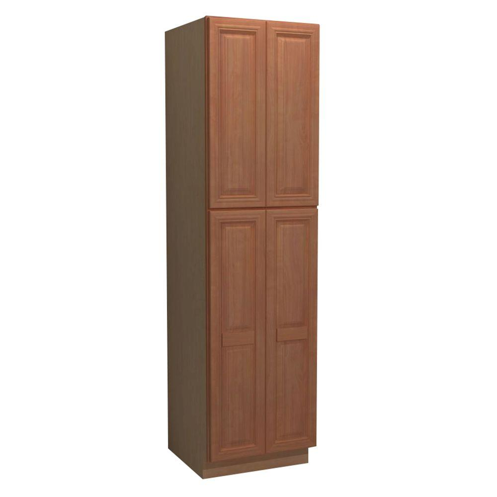 Home Decorators Collection Dartmouth Assembled 24 x 84 x 21 in. Pantry/Utility 2 Double Door Linen Vanity Cabinet in Cinnamon