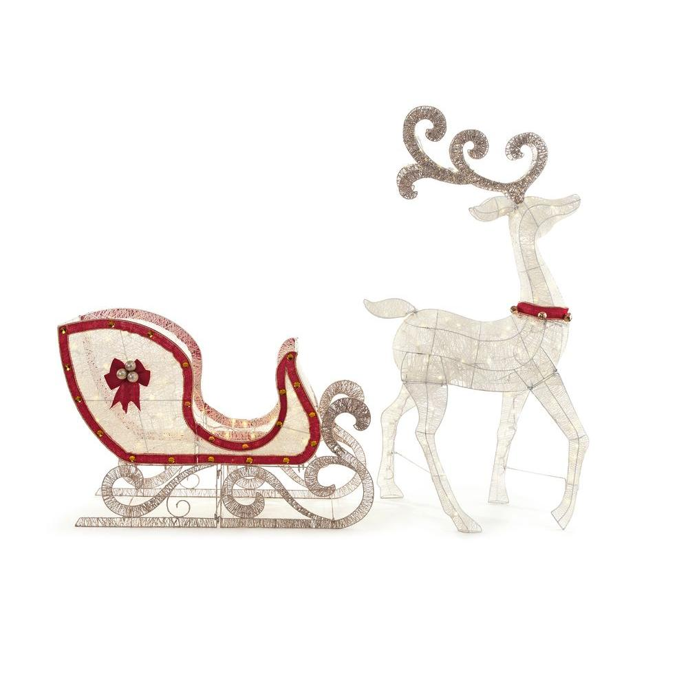 Home Accents Holiday 65 In Led Lighted White Deer And 46 In Led Lighted Sleigh Ty083 1618