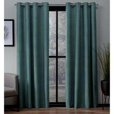 London 54 in. W x 96 in. L Woven Blackout Grommet Top Curtain Panel in Blue Teal (2 Panels)