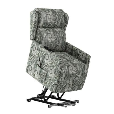 Classic Multi Gray Paisley Wingback Power Recline and Lift Chair