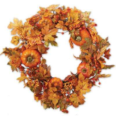 22 in. Leaves and Pumpkin Wreath