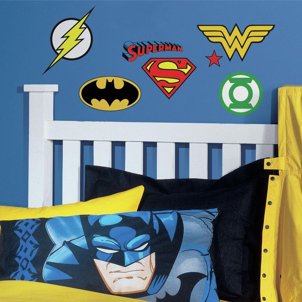 Roommates 5 In W X 11 H Dc Superhero Logos 16 Piece