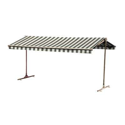 12 ft. Oasis Freestanding Manual Retractable Awning (120 in. Projection) in River Rock