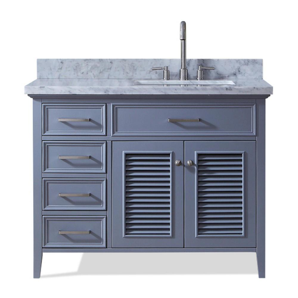 Ariel Kensington 43 in. Bath Vanity in Grey with Marble Vanity Top ...