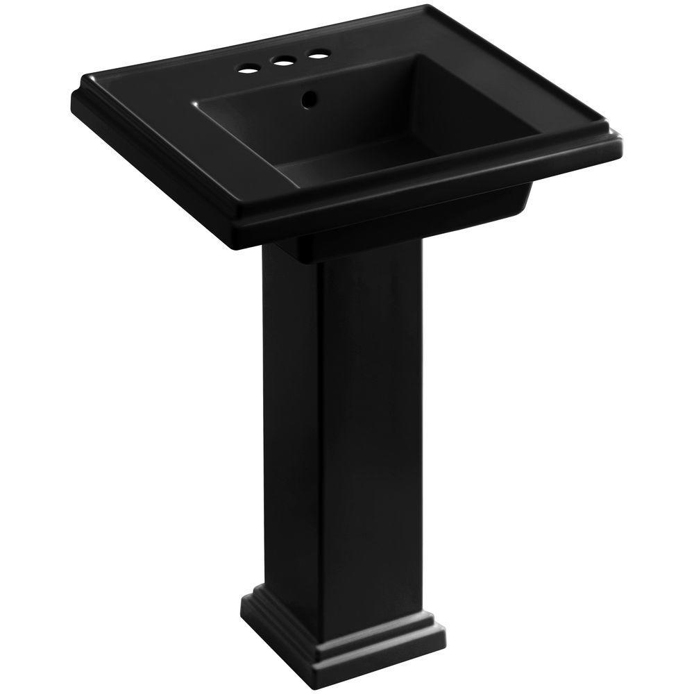 KOHLER Tresham Ceramic Pedestal Combo Bathroom Sink with 4 in. Centers in Black Black with Overflow Drain