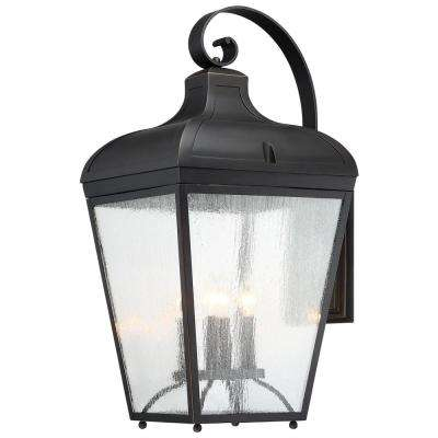 Marquee 4-Light Oil Rubbed Bronze with Gold Highlights Outdoor Wall Lantern Sconce