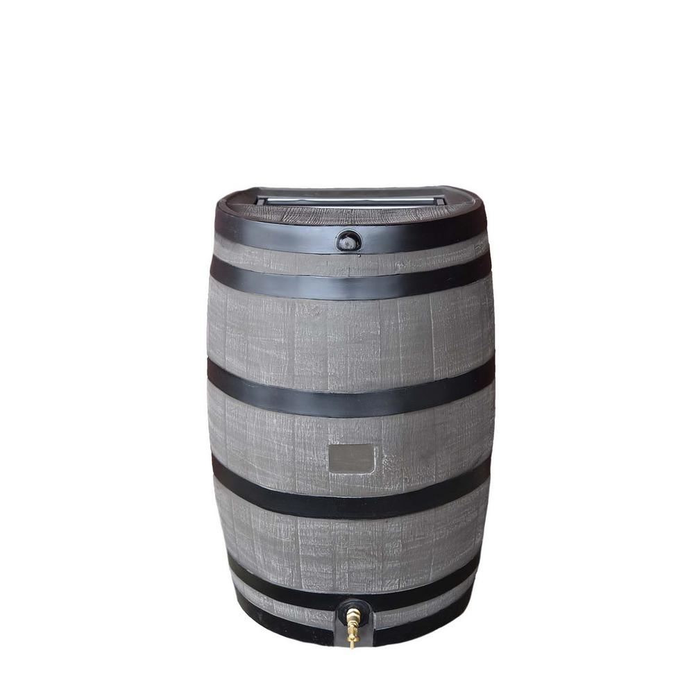 Rts Home Accents 50 Gal Rain Barrel With Woodgrain Brass Spigot 55100006005681 The Home Depot