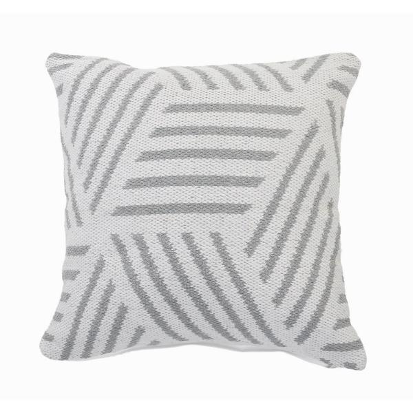 Homely Gray / White Abstract Striped Soft Poly-fill 20 in. x 20 in. Throw Pillow