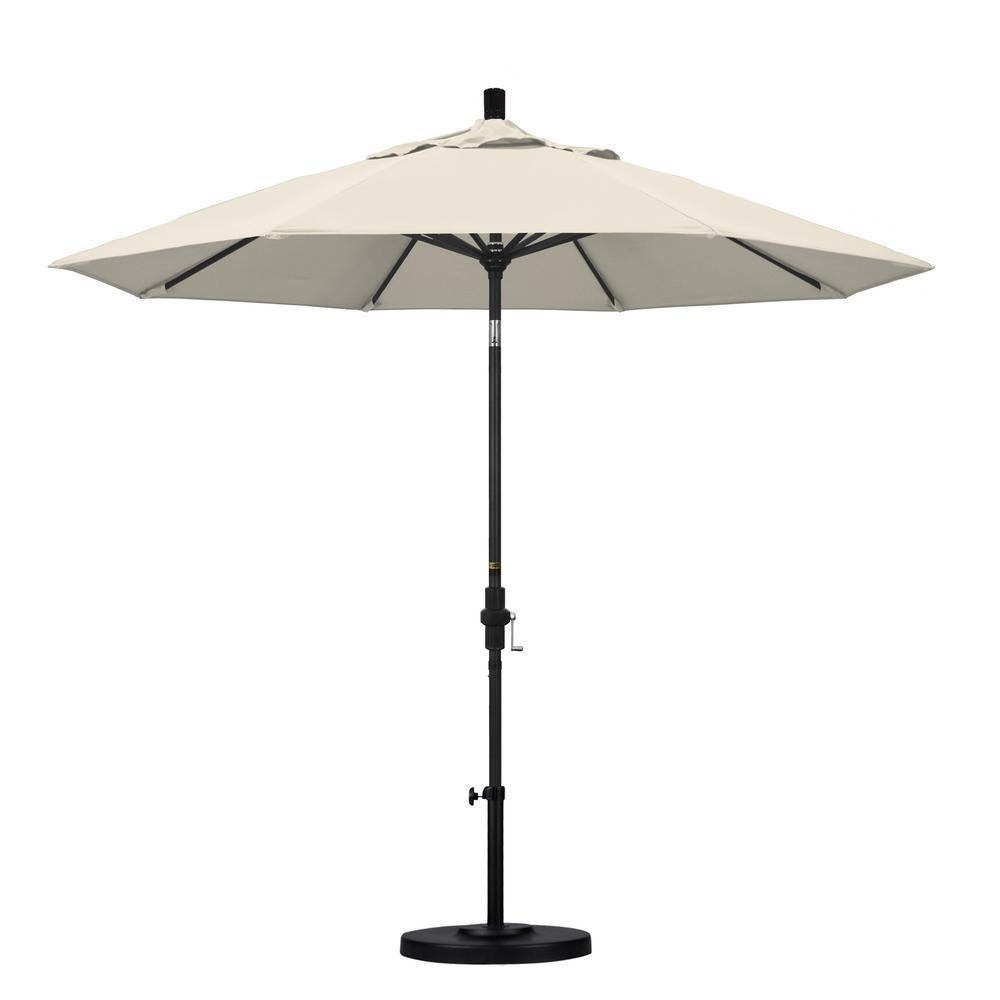 9 ft. Aluminum Collar Tilt Patio Umbrella in Antique Beige Olefin