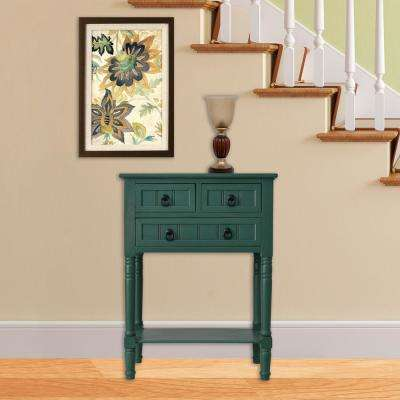 Antique Teal 3 Drawer Console Accent Table