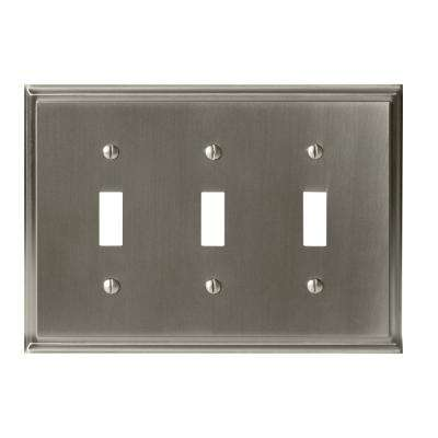 Mulholland 3-Toggle Wall Plate, Satin Nickel