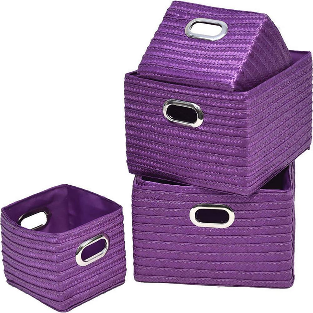 9 in. L x 8.12 in. W x 6 in. H Rectangular Utilities Shelf Baskets Storage Handles Set Purple (4-Piece)