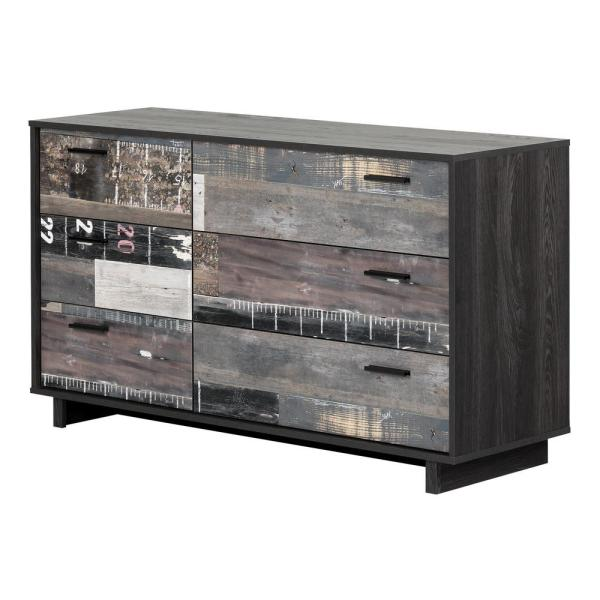 South Shore Fynn 6-Drawer Gray Oak and Factory Planks Effect Chest