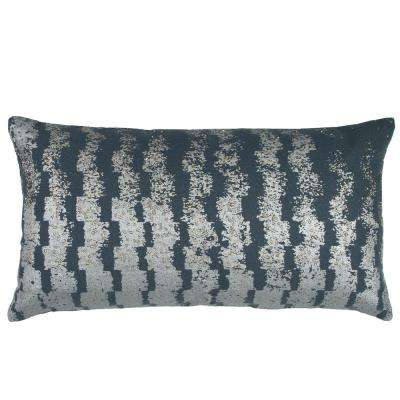 Printed Vertical Pattern 14 in. x 26 in. Slate Grey Decorative Filled Pillow