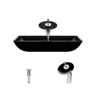 Glass Vessel Sink in Black with Waterfall Faucet and Pop-Up Drain in Chrome