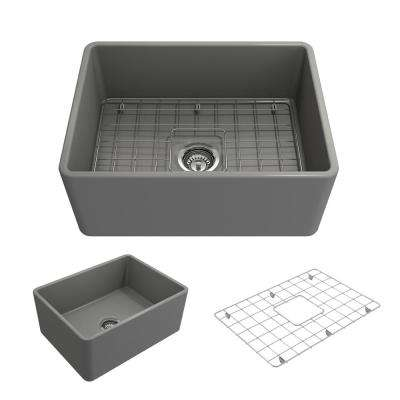 Classico Farmhouse Apron Front Fireclay 24 in. Single Bowl Kitchen Sink with Bottom Grid and Strainer in Matte Gray
