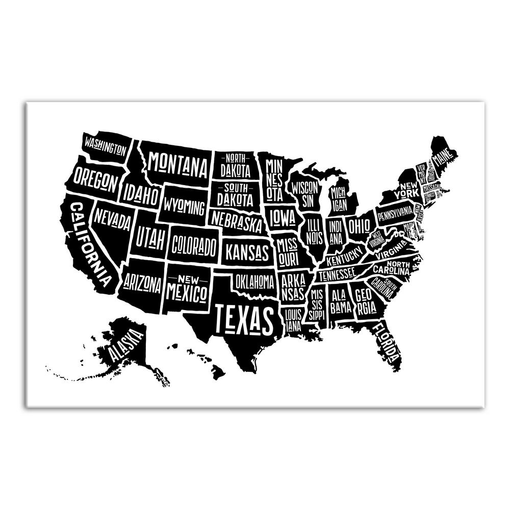 Designs Direct 24 In X 36 In Simple United States World Map