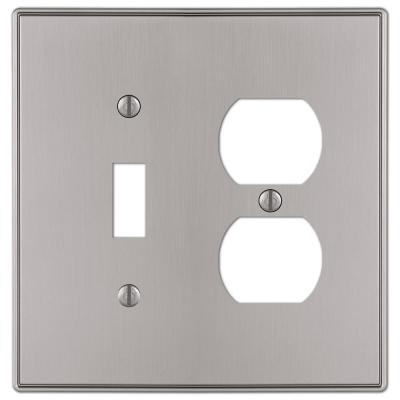 Ansley 2 Gang 1-Toggle and 1-Duplex Metal Wall Plate - Brushed Nickel