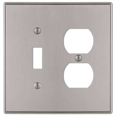 Ansley Cast 1-Toggle and 1-Duplex Wall Plate, Brushed Nickel