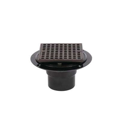 ABS Shower Drain with Square 4-3/16 in. Oil Rubbed Bronze Strainer