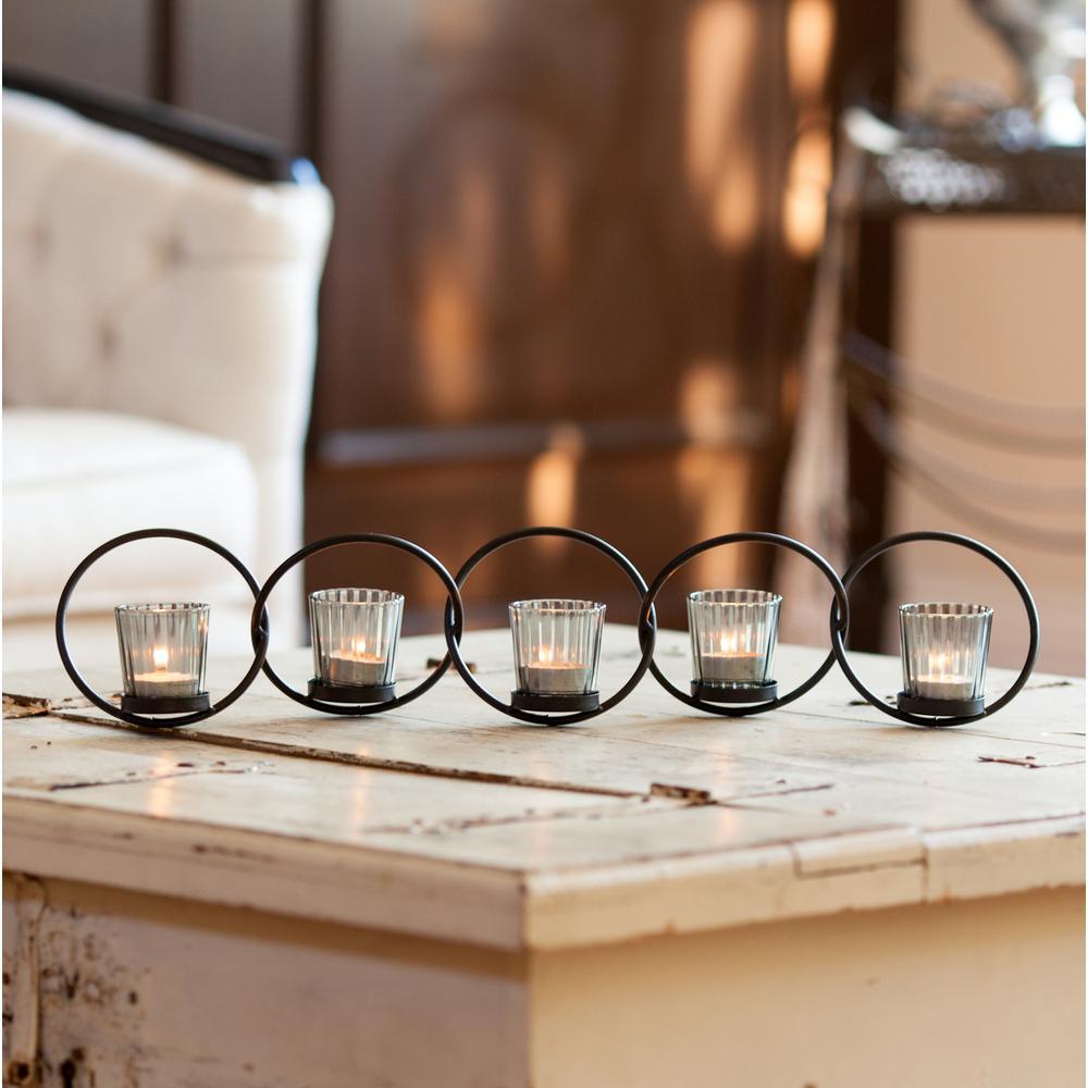 Danya b 5 ring interlocking metal votive candle holder