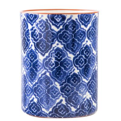 7 in. H Blue Medallion Utensil Crock