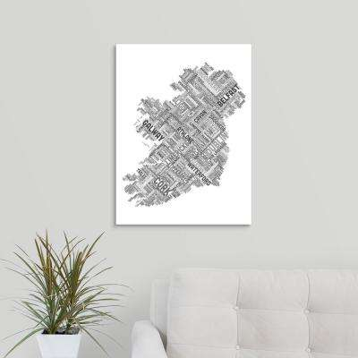 """Ireland Eire City Text map"" by Michael Tompsett Canvas Wall Art"