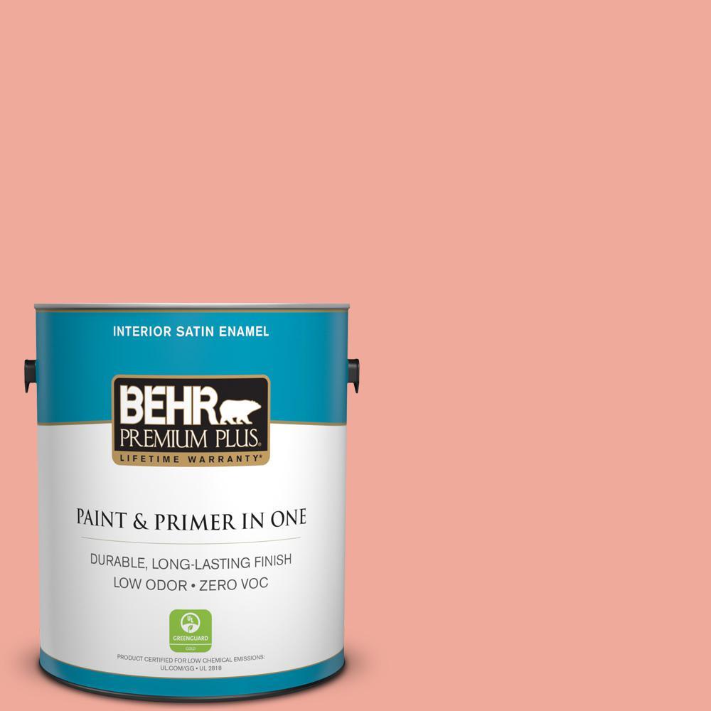 BEHR Premium Plus 1 gal. #200D-4 Powdered Petals Satin Enamel Zero VOC Interior Paint and Primer in One