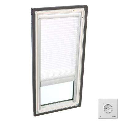 30-1/16 in. x 54-7/16 in. Fixed Deck-Mount Skylight w/ Laminated Low-E3 Glass, White Solar Powered Light Filtering Blind
