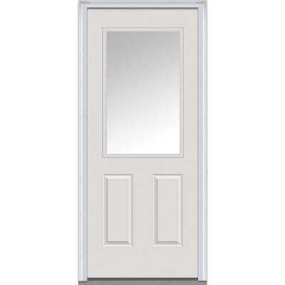 34 in. x 80 in. Right-Hand Inswing 1/2-Lite Clear 2-Panel Classic Primed Fiberglass Smooth Prehung Front Door