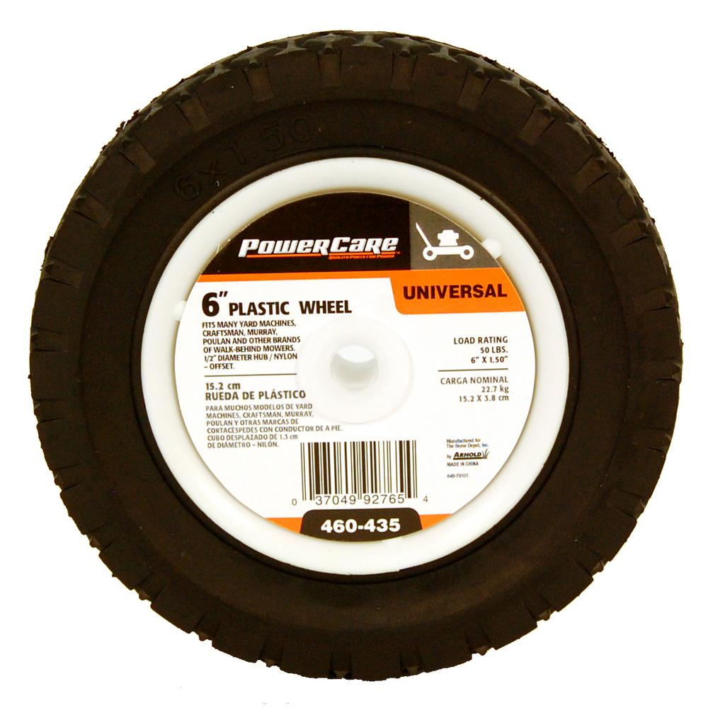 Powercare 6 in. x 1.5 in. Universal Plastic Wheel for Lawn Mowers
